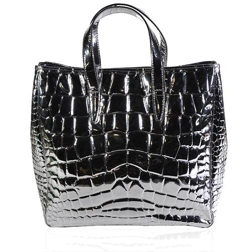 Yves Saint Laurent Large Croco Embossed Patent Leather Tote