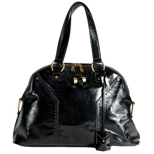 Yves Saint Laurent Patent Leather Muse Large Tote