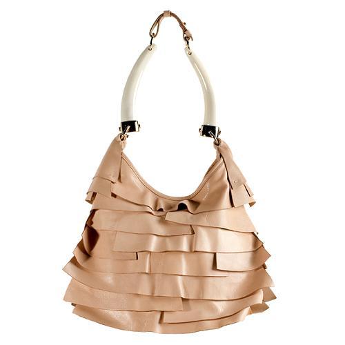 Yves Saint Laurent Ruffled Leather St Tropez Mombasa Hobo Handbag