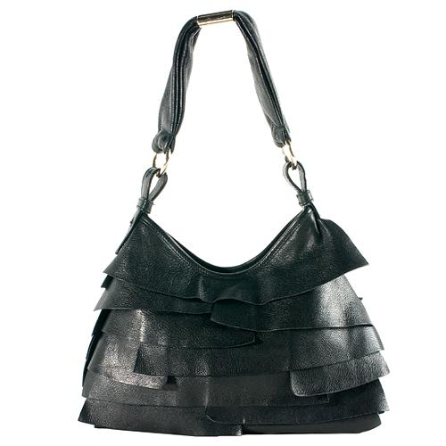 Yves Saint Laurent Ruffled Leather St. Tropez Small Hobo Handbag