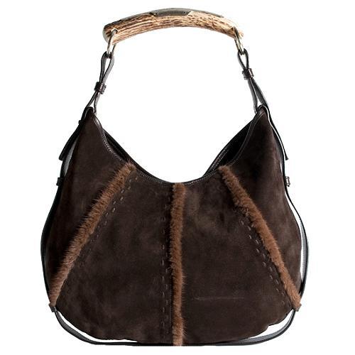 Yves Saint Laurent Suede and Mink Mombasa Hobo Handbag