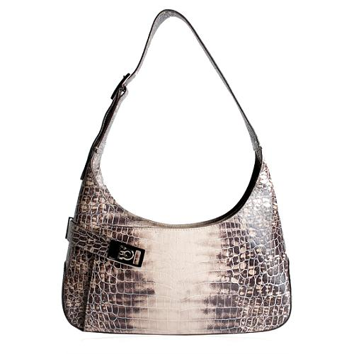 Salvatore Ferragamo Cocco Macula Croc Emobssed Shoulder Handbag