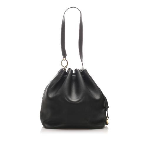 Salvatore Ferragamo Drawstring Leather Shoulder Bag