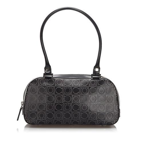 Salvatore Ferragamo Embossed Leather Gancini Boston Bag