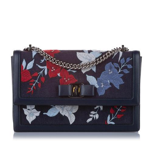 Salvatore Ferragamo Embroidered Floral Ginny Crossbody Bag