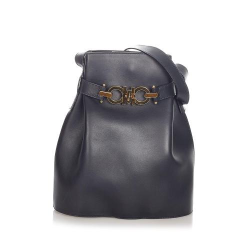Salvatore Ferragamo Gancini Leather Bucket Bag