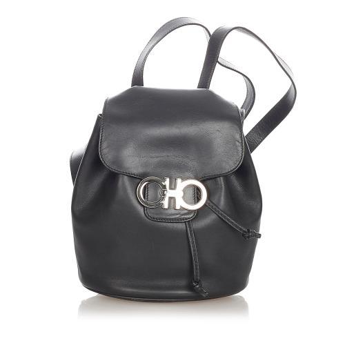 Salvatore Ferragamo Gancini Leather Drawstring Backpack