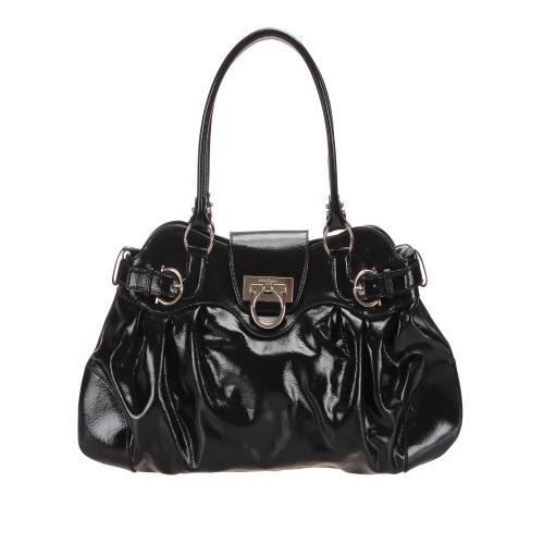 Salvatore Ferragamo Patent Leather Gancini Marisa Shoulder Bag