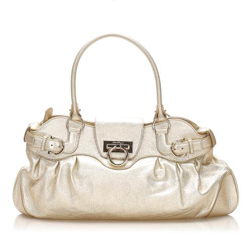 Salvatore Ferragamo Gancini Marisa Leather Shoulder Bag