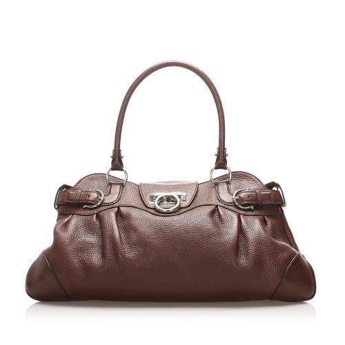 Salvatore Ferragamo Leather Gancini Marissa Shoulder Bag