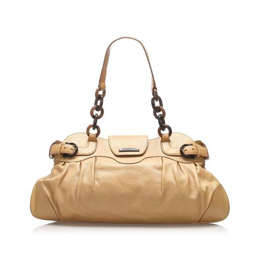 Salvatore Ferragamo Gancini Marissa Leather Shoulder Bag