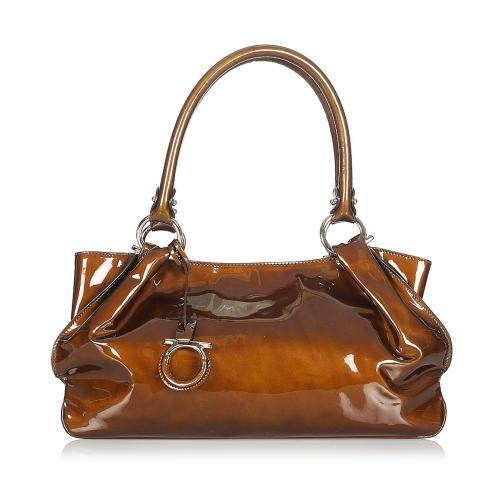 Salvatore Ferragamo Gancini Patent Leather Handbag