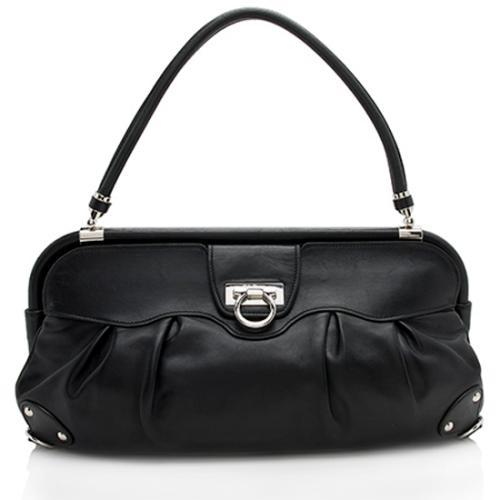 Salvatore Ferragamo Leather Gancio Large Shoulder Bag