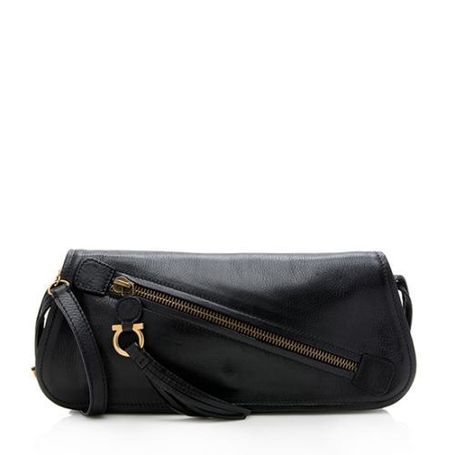 Salvatore Ferragamo Leather Zip Clutch