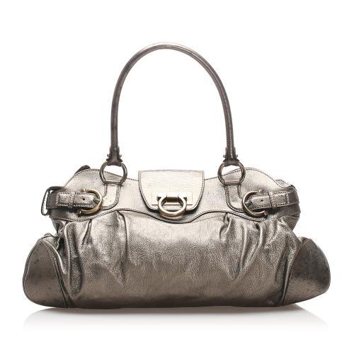 Salvatore Ferragamo Metallic Leather Marisa Shoulder Bag