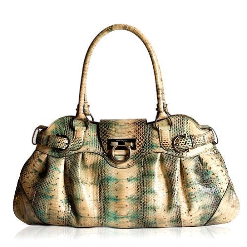 d580c141907 Salvatore Ferragamo  Marisa  Python Satchel Handbag