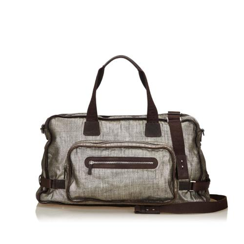 Salvatore Ferragamo Metallic Leather Duffel Bag