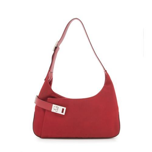 Salvatore Ferragamo Vintage Nylon Leather Classic Shoulder Bag - FINAL SALE