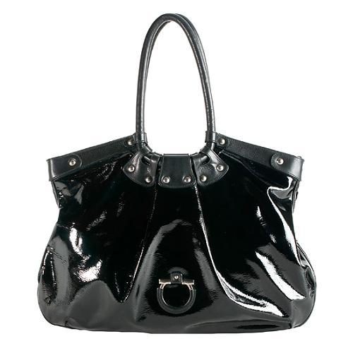 7a5779fe8c2 Salvatore-Ferragamo-Patent-Leather-Celtico-Shoulder -Bag 59235 front large 1.jpg