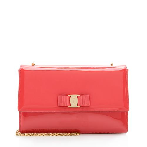 Salvatore Ferragamo Patent Leather Vara Ginny Shoulder Bag