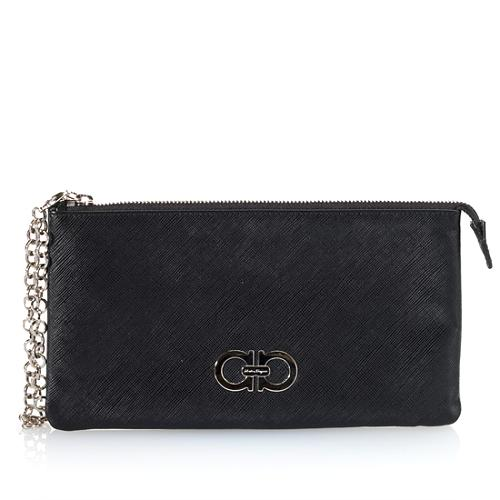 Salvatore Ferragamo Pebbled Leather Clutch