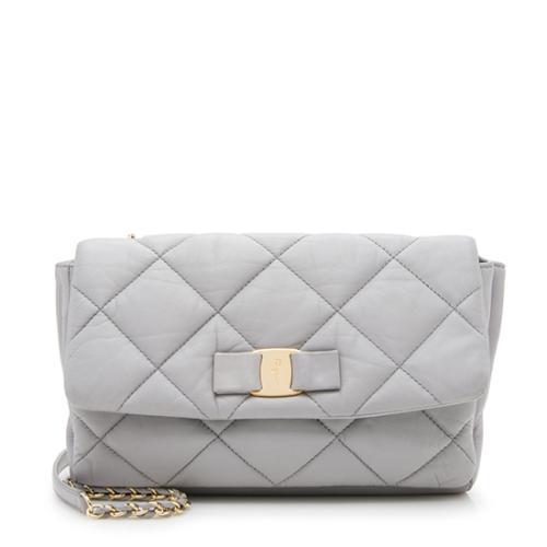 Salvatore Ferragamo Quilted Leather Soft Vara Medium Shoulder Bag