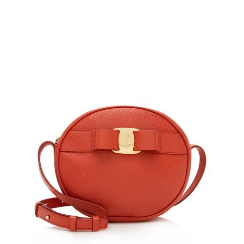 Salvatore Ferragamo Saffiano Leather Round Vara Crossbody Bag
