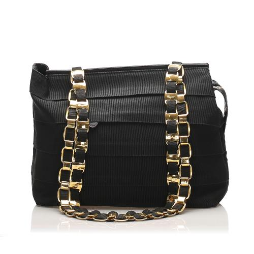 Salvatore Ferragamo Tiered Grosgrain Chain Tote Bag