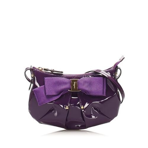Salvatore Ferragamo Vara Bow Patent Leather Shoulder Bag