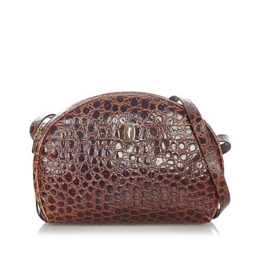 Salvatore Ferragamo Vara Embossed Leather Crossbody Bag