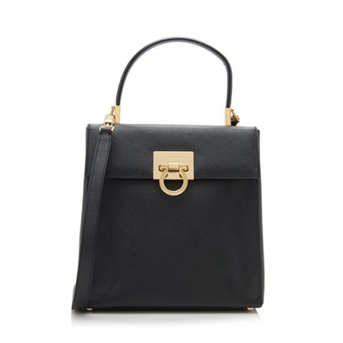 Salvatore Ferragamo Vintage Saffiano Leather Gancini Satchel