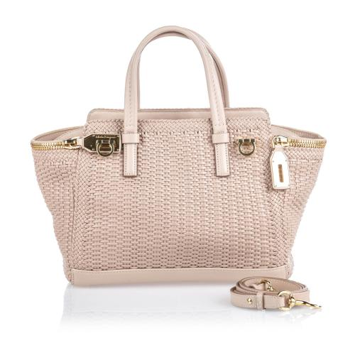 Salvatore Ferragamo Woven Leather Verve Satchel
