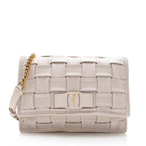 Salvatore Ferragamo Woven Leather Viva Chain Shoulder Bag