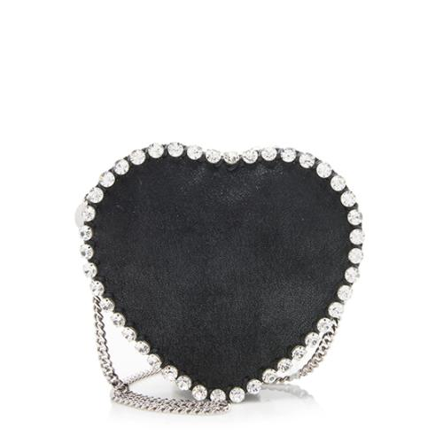 Stella McCartney Crystal Shaggy Deer Falabella Heart Crossbody Bag