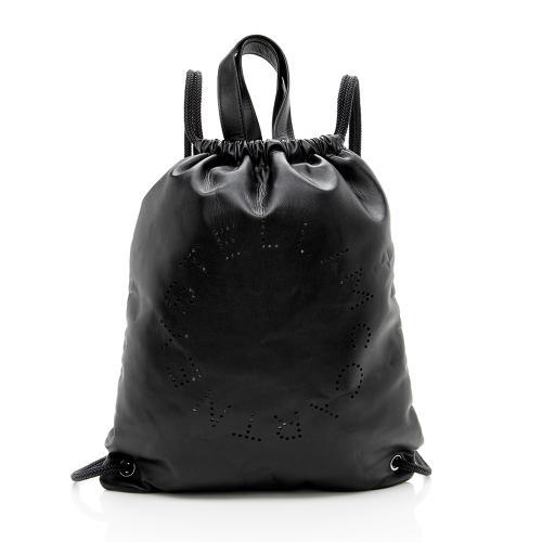 Stella McCartney Eco Alter Nappa Perforated Logo Drawstring Backpack