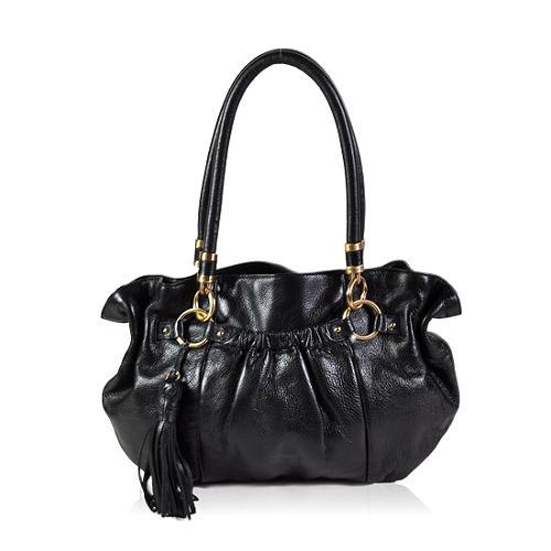 Tahari Wave Soft Pebble Leather Hobo Handbag