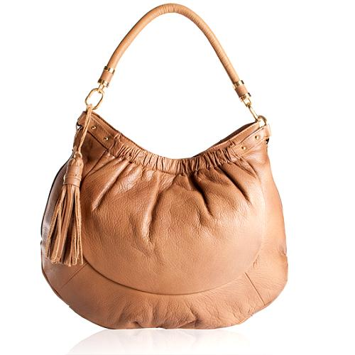 Tahari Wave Soft Pebble Leather Hobo Handbag
