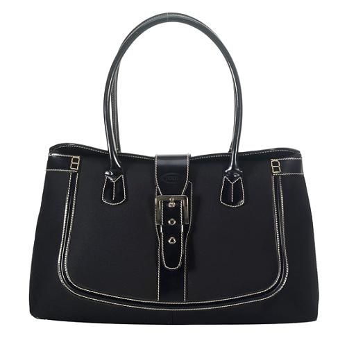 Tods Nylon and Leather Shoulder Tote