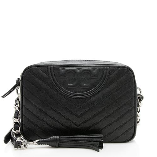 Tory Burch Distressed Leather Chevron Fleming Camera Bag