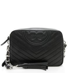Tory Burch Distressed Leather Chevron Fleming Camera Bag