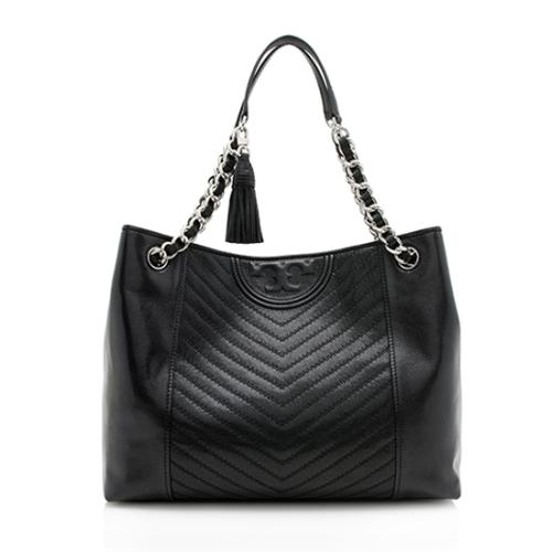 Tory Burch Distressed Leather Chevron Fleming Tote