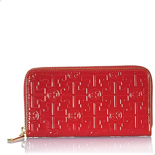 Tory Burch Embossed Lux T Zip Continental Wallet