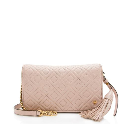 Tory Burch Leather Fleming Flat Wallet Crossbody Bag