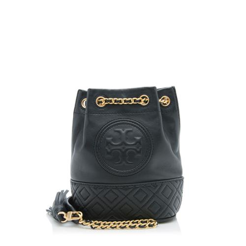 Tory Burch Leather Fleming Small Bucket Bag