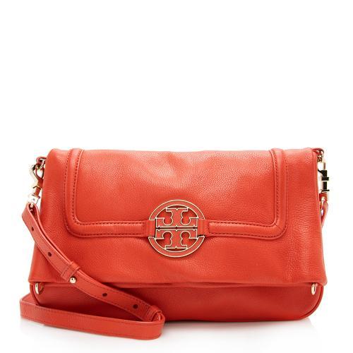 Tory Burch Leather Fold Over Amanda Crossbody Bag