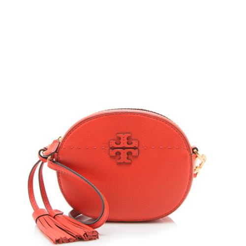 Tory Burch Leather McGraw Round Crossbody Bag