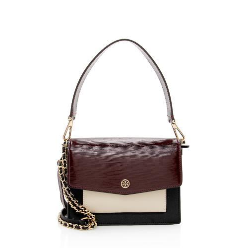 Tory Burch Leather Mixed Robinson Shoulder Bag
