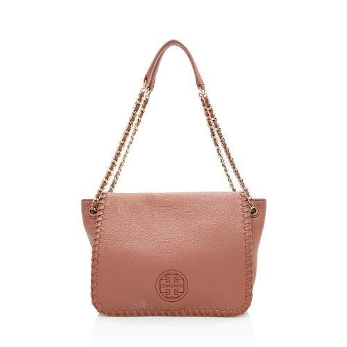 Tory Burch Leather Whipstitch Flap Shoulder Bag