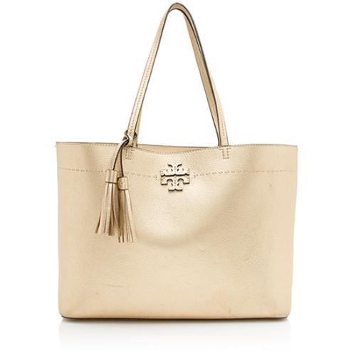 Tory Burch Metallic Leather McGraw Tote
