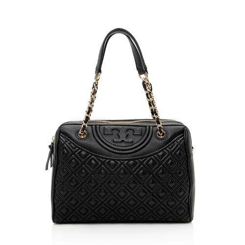 Tory Burch Quilted Leather Fleming Duffel Satchel